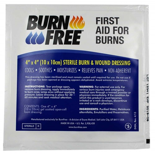 "Επίθεμα Εγκαυμάτων Burnfree 4""x4"" Sterile Burn Relief Dressing"