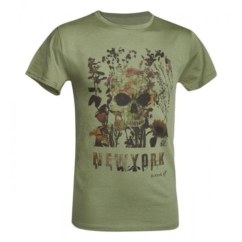 Μπλουζάκι T-Shirt D.FIVE T-SHIRT WITH FRONT CHEST SKULL WITH FLOWERS